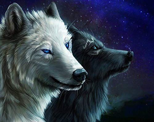 New 5D Diamond Painting Kits for Adults Kids, Awesocrafts Starry Sky Black and White Wolves Partial Drill DIY Diamond Art Embroidery Paint by Numbers with Diamonds (Wolves) (Sale Rooster For Paintings)