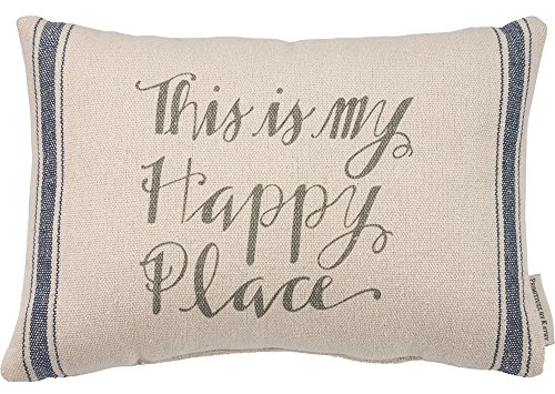 Primitives by Kathy Striped Throw Pillow, 15 x 10-Inch, This is My Happy Place by Primitives by Kathy