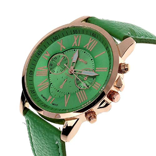 (YANG-YI Retro Design Leather Band Round Analog Alloy Quartz Wrist Watch Men (Green))