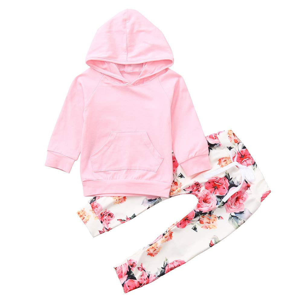 Hunzed Infant Baby Boys Girls Outfits Set, Long Sleeve Hooded Tops+Floral Print Pants