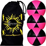 Flames N Games ASTRIX UV Thud Juggling Balls set of 3 (BLACK/PINK) Pro 6 Panel Leather Juggling Ball Set & Travel Bag!