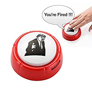 Donald Trump You're Fired Sound Button Gag Toy | Hilarious Red Base With Angry Donald Trump's Face On Top | Push The Button Funny Sound Effect Political Boss Gift | 2 AAA Batteries Included