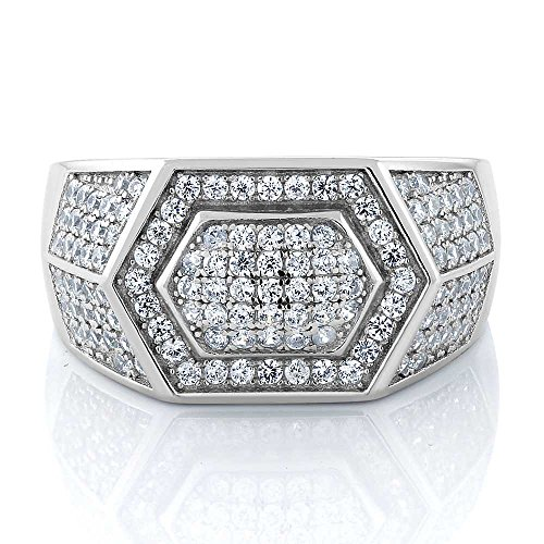 1.52 Ct Round White Zirconia 925 Sterling Silver Men's Ring Father's Day Gift (Available in size 9, 10, 11, 12, 13)
