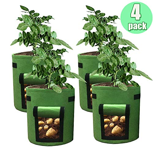 HAHOME 4 Pack 7 Gallon Potato Grow Bag, Garden Planting Bags,Vegetables Planter Bags, Non-Woven Aeration Fabric Pot Growing Bags with Handle and Access Flap, - Potato Green