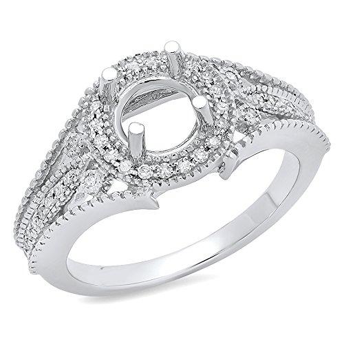 Dazzlingrock Collection 0.25 Carat (ctw) 14K Round Diamond Ladies Semi Mount Engagement Ring 1/4 CT, White Gold, Size 7
