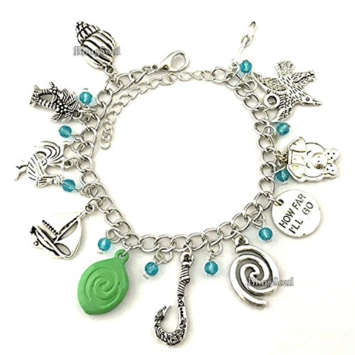 Moana Charm Bracelet - Fish Hook Maui Costume Jewelry Merchandise Gift Collection for Women]()