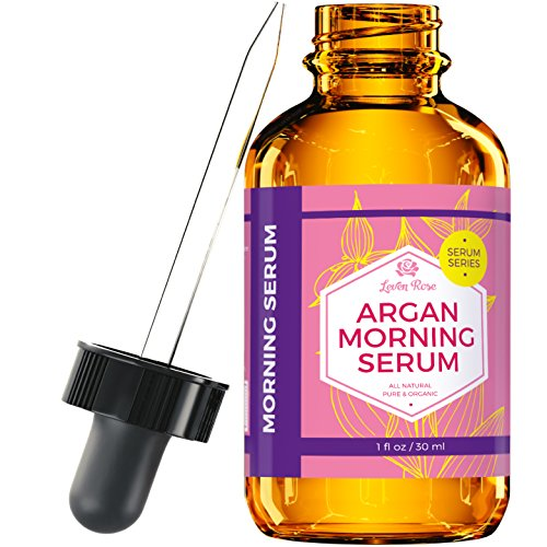 Rose Collage (Argan Morning Serum by Leven Rose, 100% Pure Organic Natural - Brightens Complexion Naturally Stimulates Collagen and Elastin Reduces Fine Lines and Wrinkles 1 oz)