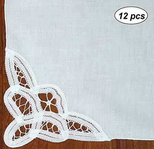 Creative Linens Battenburg Lace Napkin Set White, 100% Cotton (Napkins-12pcs)