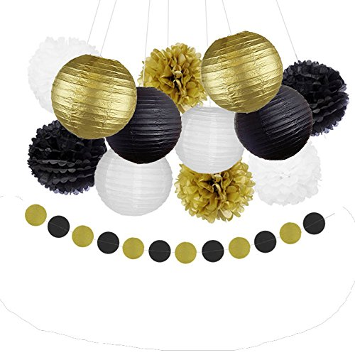 Happy New Year Party Decorations Black White Gold Tissue Paper Pom Pom and Paper lanterns Garland for Great Gatsby Decorations/ New Year's Eve Party /Birthday Decorations/Bridal Shower Decorations