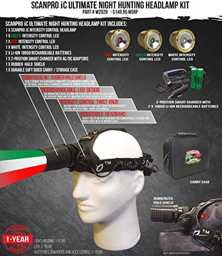 Wicked Lights ScanPro IC Ultimate Night Hunting Headlamp with Full Intensity Control and GREEN, RED, and WHITE LED's for coyote, predator, and hog hunting by Wicked Lights (Image #1)