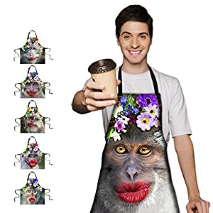 Funny Monkey Bib Apron with Adjustable Neck Strap & Long Ties, BBQ Cooking Kitchen Baking Crafting Gardening Apron Party Entertainment Apron for Men Women HSW-040