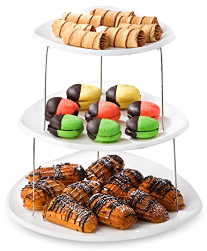 Twist Fold Party Tray, 3 Tier - The Decorative Plastic Appetizer Trays Twist Down and Fold Inside for Minimal Storage Space. An Elegant Tray for Serving Sandwiches, Cake, Sliced Cheese and Deli Meat. (Erving Tray)