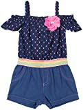Little Lass Little Girls Rainbow Romper 5 Navy Blue Multi
