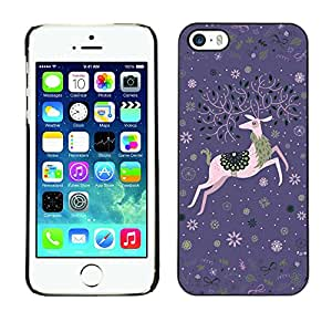 MOBMART Carcasa Funda Case Cover Armor Shell PARA Apple iPhone 5 / 5S - Celebration Of The Flying Deer