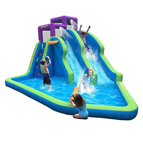 Water Slide Tubes - Kahuna Twin Falls Outdoor Inflatable Splash Pool Backyard Water Slide Park