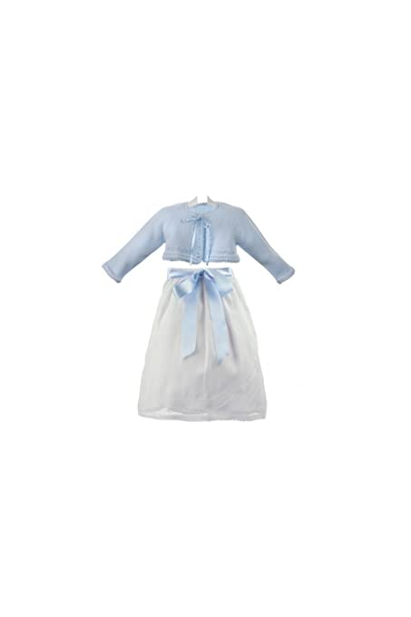 dac9687a1 Isabel Maria - Conjunto de faldón cruzado y chaqueta celeste para bebé - 3  meses,