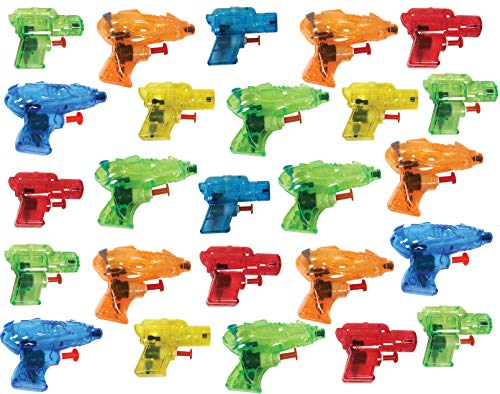 Beach Party Ideas (Present Avenue Mini Colorful Squirt Water Guns Blasters for Kids Birthday Party Favors, Pool Beach Toys, (25)