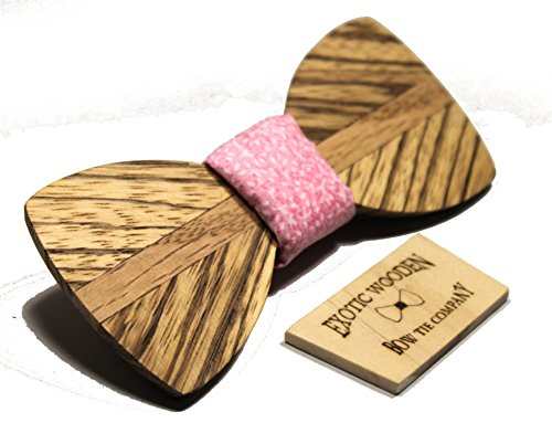 Solid Zebra and Oak Wood Bow Tie with Pink Fabric (Pink Fabric)