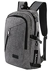 Mancro Business Water Resistant Polyester Laptop Backpack with with USB Charging Port and Lock for less than 17-Inch Laptop and Notebook, Grey