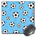 3dRose LLC 8 x 8 x 0.25 Inches Mouse Pad, Cute Blue Soccer Star Print (mp_110759_1)