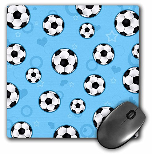 3dRose LLC 8 x 8 x 0.25 Inches Mouse Pad, Cute Blue Soccer Star Print (mp_110759_1) by 3dRose