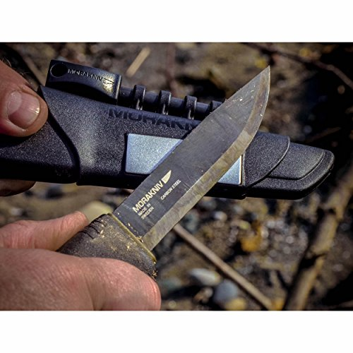 Morakniv Bushcraft Carbon Steel Survival Knife with Fire Starter and Sheath, Black