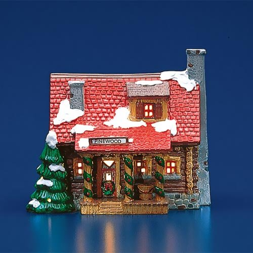 Log Cabin Christmas.Department 56 Original Snow Village Pinewood Log Cabin