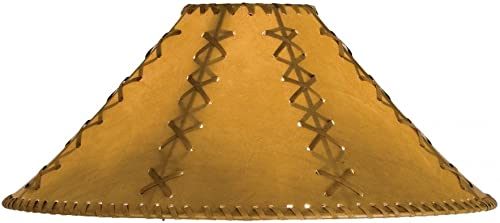 Meyda Tiffany 26355 Faux Leather Hexagon Lamp Shade, 18 Width x 10 Height, Tan