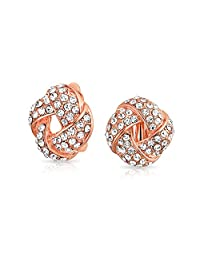 Bling Jewelry Woven Love Knot Crystal Clip On Earrings Rose Gold Plated Alloy