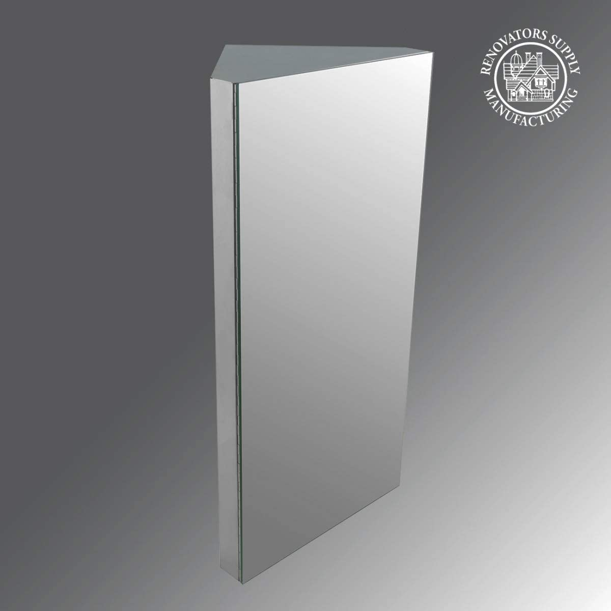 Renovator s Supply Corner Wall Mount Medicine Cabinet Brushed Stainless Steel with Mirror