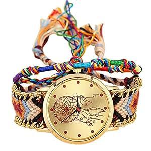 Yoyorule Handmade Ladies Vintage Quartz Watch Dreamcatcher Friendship Watches (D)