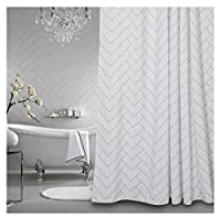 Aimjerry White Fabirc Shower Curtain for Bathroom with 12 Hooks,72Hx72L