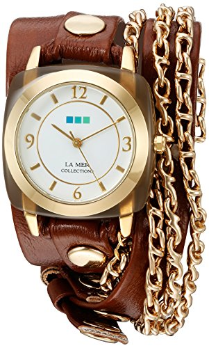 Collection Brown Leather Watch (La Mer Collections Women's Quartz Gold-Tone and Leather Watch, Color:Brown (Model: LMMULTI2016313))