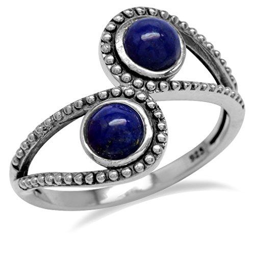 Genuine Lapis 925 Sterling Silver Bali/Balinese Style Bypass Ring Size - Ring Bali Style Sterling Silver