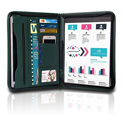 Green Padfolio (TYSON Padfolio, Resume Portfolio / Business Portfolio, PU Leather Document Storage, Zippered Portfolio Binder with Writing Pad, Card Holder & Phone Slot)