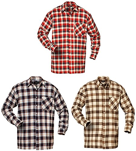Flanell-Hemd DELAWARE / VIRGINIA / NEVADA im 3er-Set 100% Baumwolle (XL (43/44))