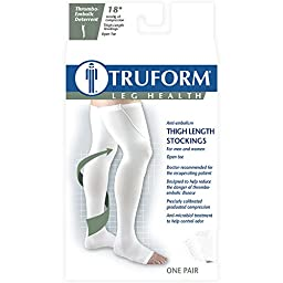 Truform Open Toe, Thigh Length, 18mmHg Anti-Embolism Stockings, White, X-Large