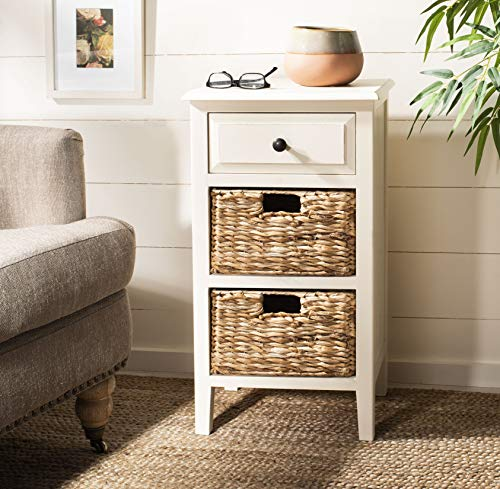 Safavieh American Homes Collection Everly Distressed White Side Table (Pine Room Living)