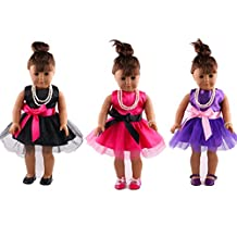 Doll Clothes Set Include 3pcs Lace Ballet Skirt Fits 18 inch American Girl Doll, Our Generation, Journey Girls Dolls by ZWSISU