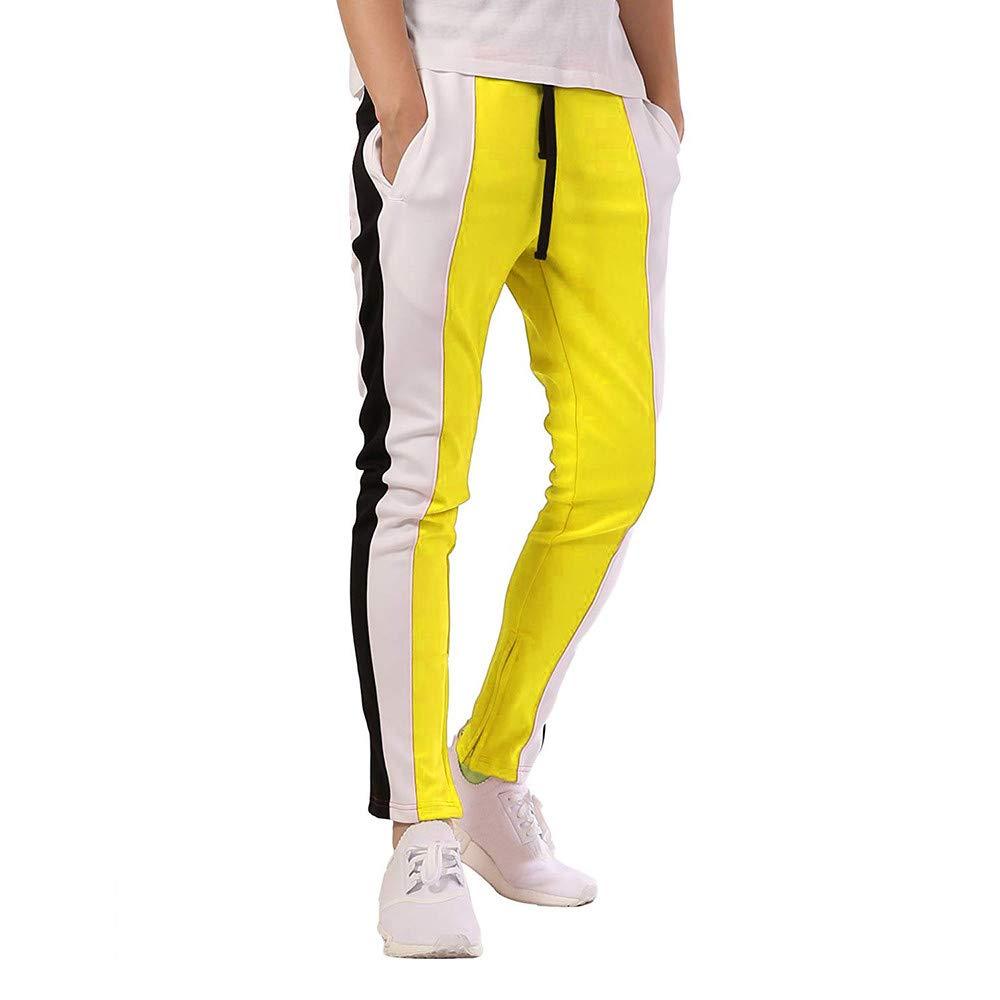 Homme Pantalon de Sport Jogging Entraînement Pantalon Rayé Casual Baggy Elastique Gym Fitness Sweatpants avec Cordon Pants