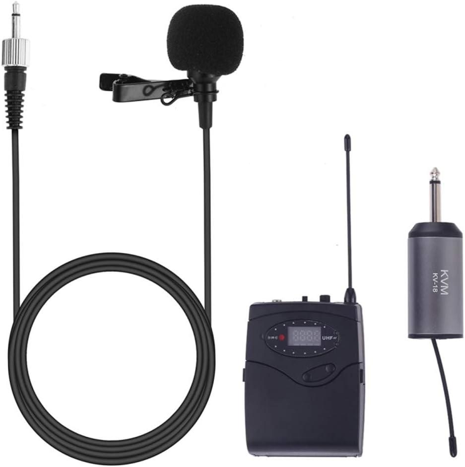 QAIYXM Sistema de micrófono inalámbrico, de Solapa UHF micrófonos inalámbricos con Receptor, emisor de petaca y Receptor, Ideal para enseñanza, predicación y Aplicaciones para Hablar en público