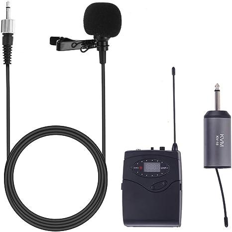 QAIYXM Sistema de micrófono inalámbrico, de Solapa UHF micrófonos ...