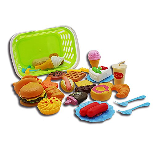 Aoile Plastic Fast Food Playset Mini Hamburg French Fries Hot Dog Ice Cream Cola Food Toy for Children Pretend Play Gift for Kids 35 Sets with Baskets