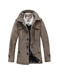 LJYH Men's Winter Wool Jacket Overcoat Slim Fit Trench Coat Casual Top Coat Peacoat
