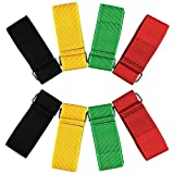 ZXSWEET 8PCS 3-Legged Race Bands Elastic Tie Rope Strap Band with 4 Assorted Colors Perfect for Relay Race Game, Carnival, Field Day, Backyard By