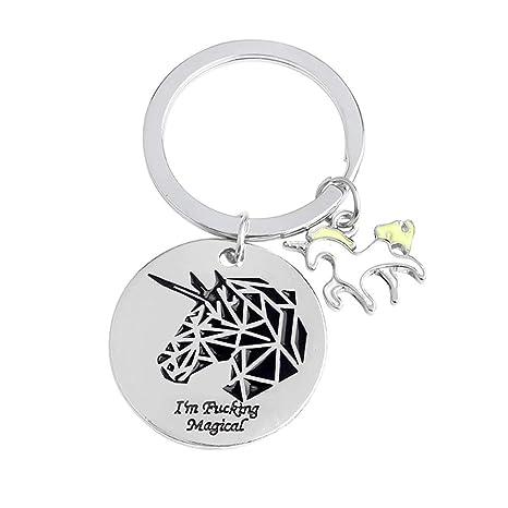 Gluckliy Cute Unicorn Keychain Alloy Engraved Letter Pendant Keyring Charm Gift for Women Girls