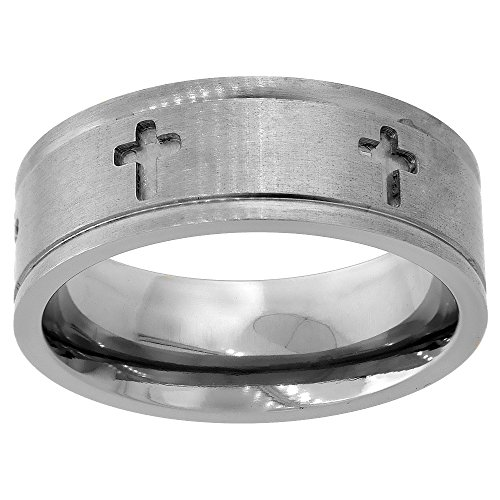 8mm Titanium Wedding Band Cross Ring Deep Carving Grooved Edges Flat Comfort Fit, Size 8.5