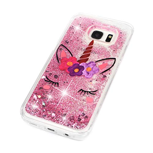 Galaxy S7 Edge Case, Clear Liquid Glitter Case Air-Cushion Drop Resistant Shiny Sparkle Flowing Moving Hearts Shock Absorption TPU Bumper Shell Protective Cover for Samsung Galaxy S7 Edge - Unicorn by KASOS (Image #2)