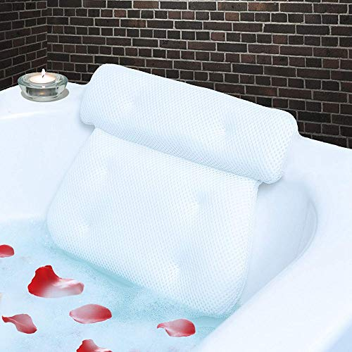 Homer's Choice Bath Spa Pillow with 6 Suction Cups, Luxury Anti Mold Non Slip 2-Panel Design,...