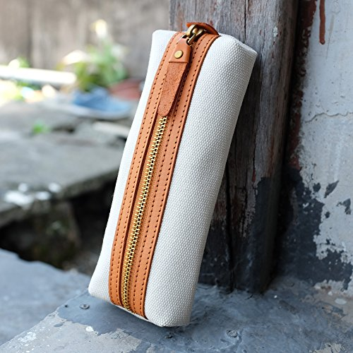 Slim Canvas Pencil Pouch Pen Bag Stationery case Gadget Bag Small Storage Bag(Beige) by ZLYC (Image #6)